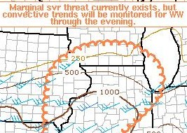 Area under consideration for Thunderstorm Watch on Saturday, April 25, 2009