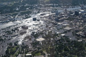Aerial view of downtown Cedar Rapids on Friday, June 13, 2008